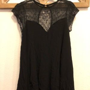 Impressions Black Baby Doll Dress with Lace Detail